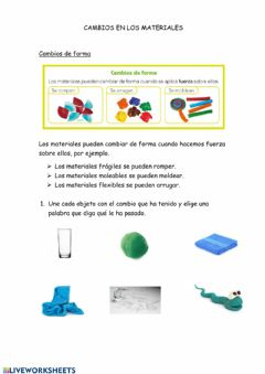 Interactive worksheet Cambios en los materiales