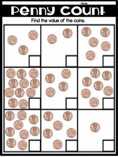 Interactive worksheet Counting Pennies
