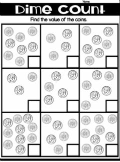 Interactive worksheet Counting Dimes