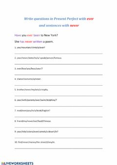 Interactive worksheet Present Perfect ever - never