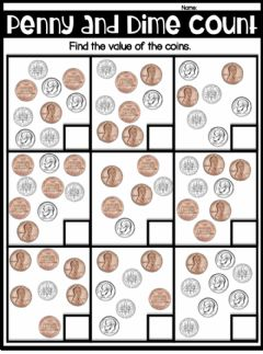 Interactive worksheet Counting dimes and pennies