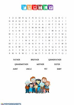 Ficha interactiva Family wordsearch