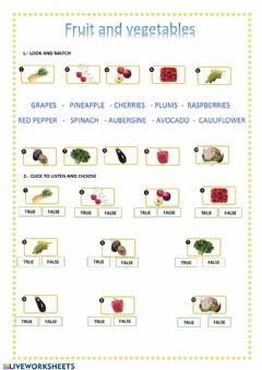 Interactive worksheet Fruit and Vegetables. New Tiger 5