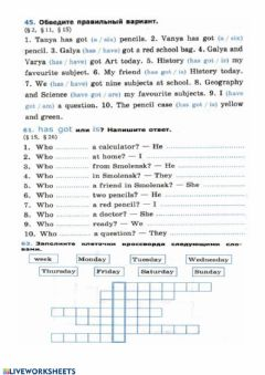 Interactive worksheet Have got - is