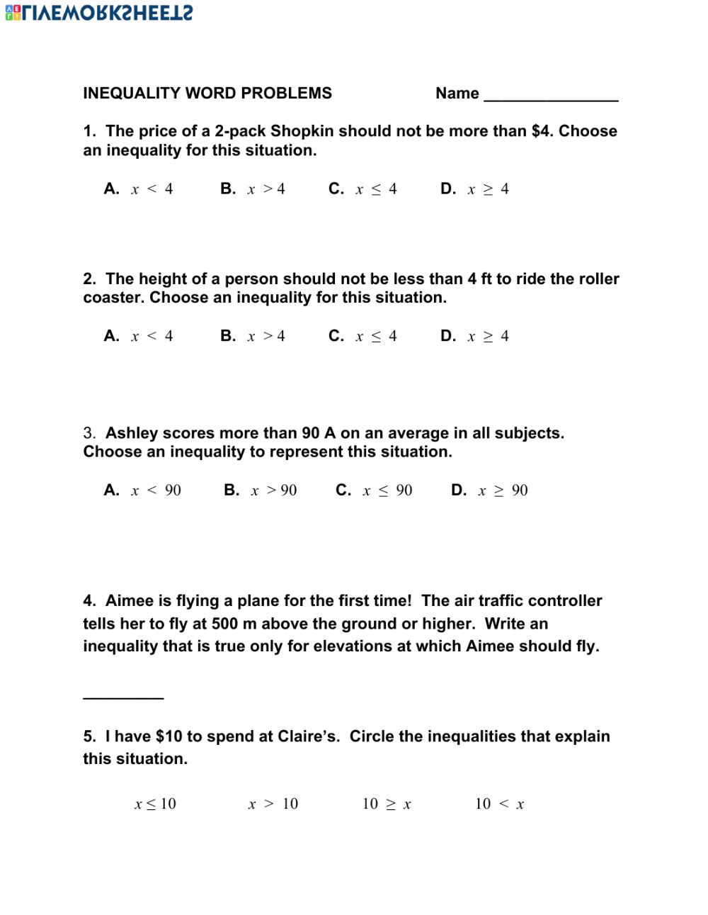 - Inequality Word Problems - Interactive Worksheet