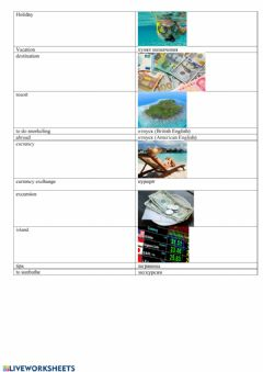 Interactive worksheet Holiday Vocabulary