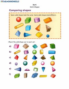 Interactive worksheet Math page 10 solid shapes April 20