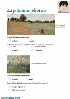 Interactive worksheet La pittura en plein air