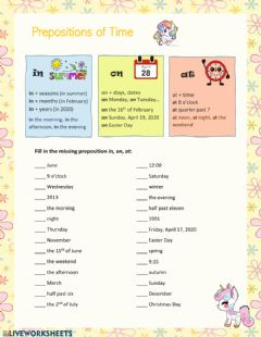 Interactive worksheet Prepositions in, on, at (a, b)
