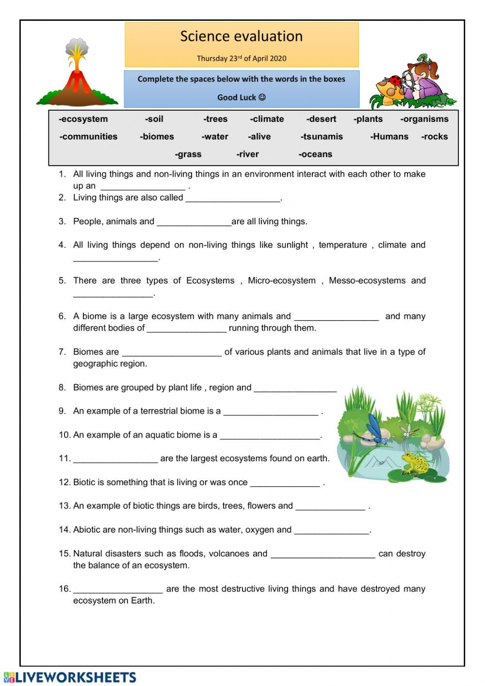 Ecosystems online worksheet and pdf