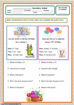 Interactive worksheet Birthday party reading