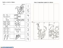 Interactive worksheet Numbers from one to five