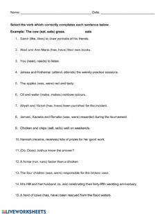 Interactive worksheet Subject and Verb Agreement