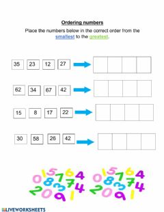 Interactive worksheet Ordering numbers