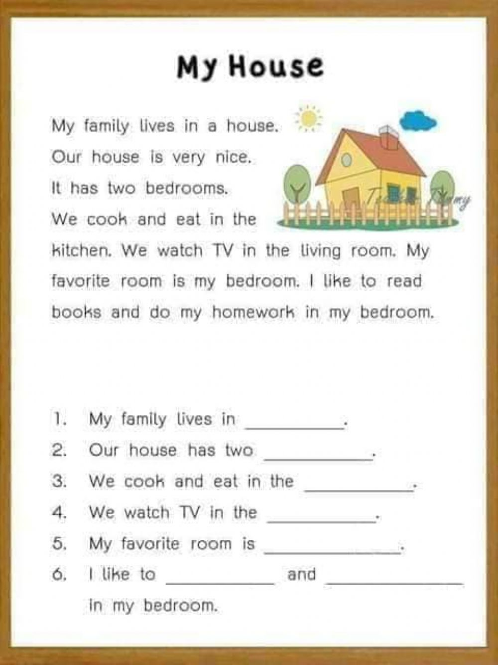 Reading comprehension for kids interactive worksheet