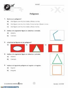 Interactive worksheet Examen Poligonos