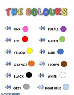 Interactive worksheet The colours