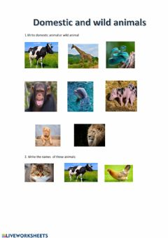 Interactive worksheet Domestic and wild animals