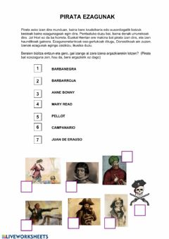 Interactive worksheet Pirata ezagunak