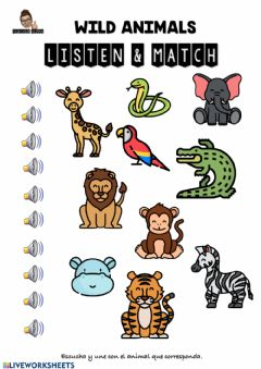 Interactive worksheet Wild animals-listen&match