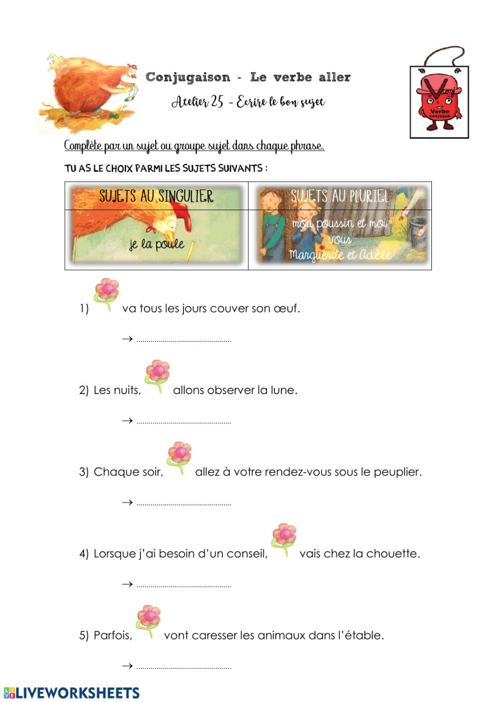 J Attendrai Paques Le Verbe Aller Worksheet