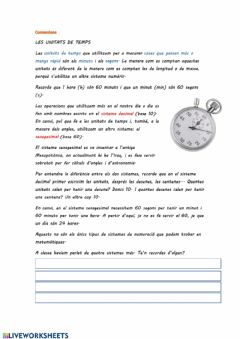Interactive worksheet Les unitats de temps