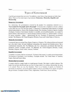 Interactive worksheet Types of Government
