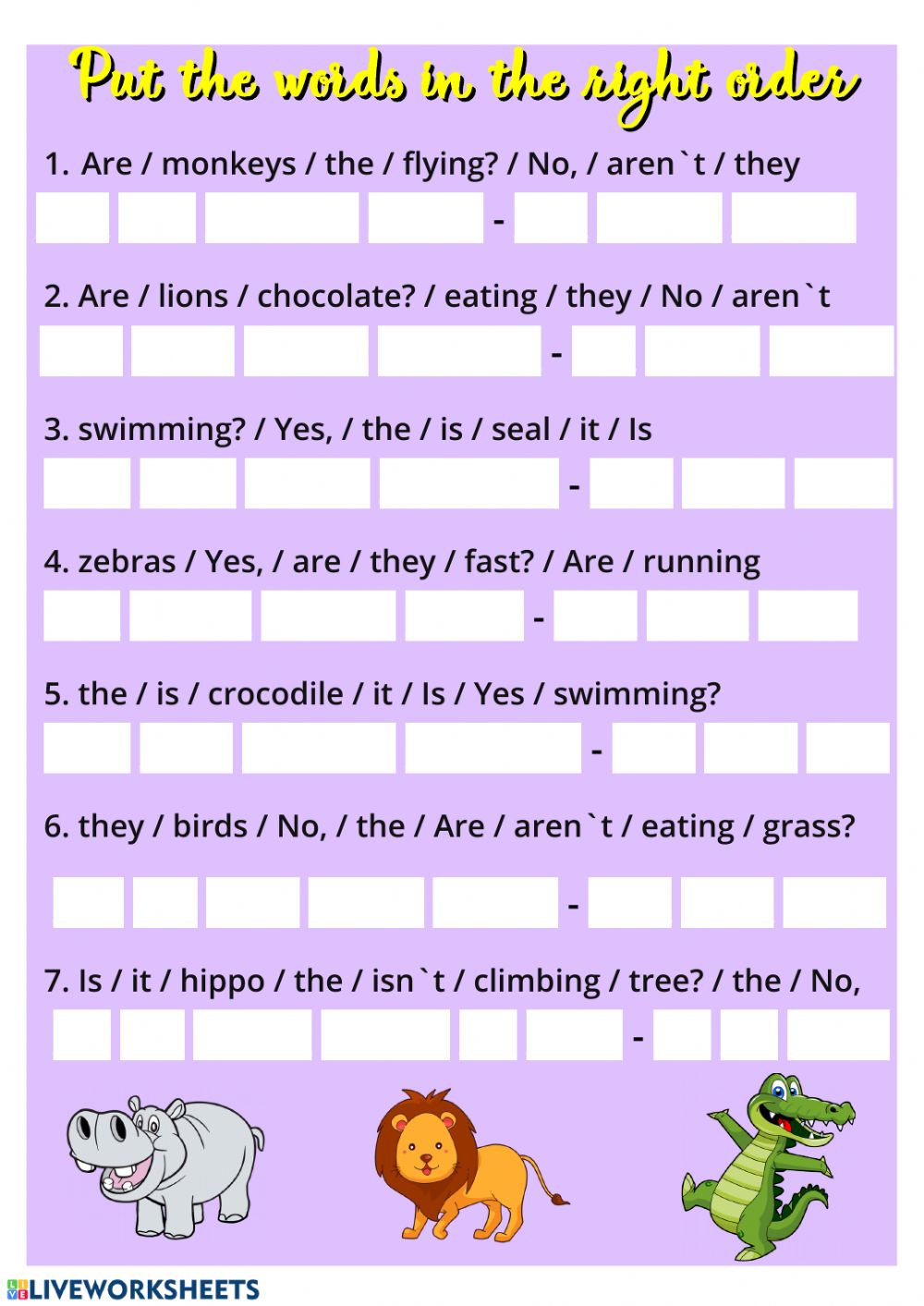 Present Continuous (Short Answers) activity