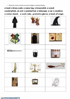 Interactive worksheet Harry Potter school supplies