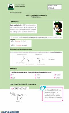 Interactive worksheet Raíz Cuadrada