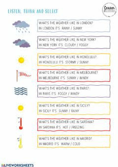 Interactive worksheet The weather symbols
