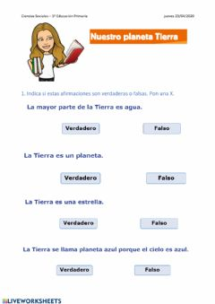 Interactive worksheet La Tierra. 1º EP