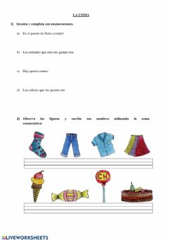 Interactive worksheet La coma