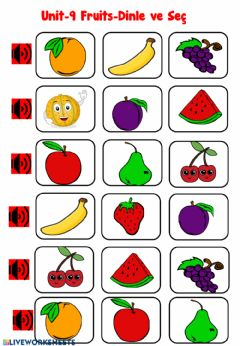 Interactive worksheet Fruits listening exercices