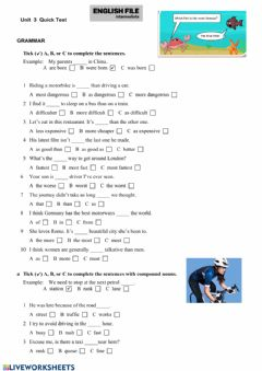 Interactive worksheet English File unit 3 short test
