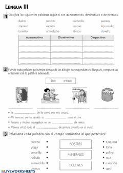 Interactive worksheet Lengua III