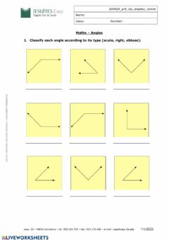 Interactive worksheet Classification angles