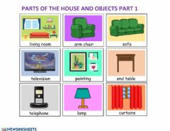 Ficha interactiva Flashcards parts of the house