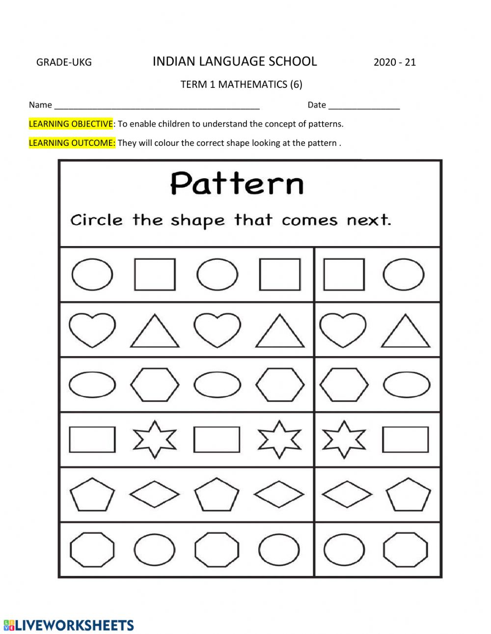 Shapes And Patterns Worksheet