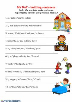 Interactive worksheet My day - sentence building