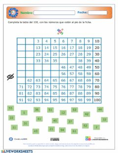 Interactive worksheet La tabla del 100 ABN completar-2- 07