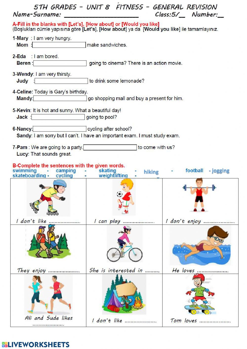Fitness General Revision Page - Interactive worksheet