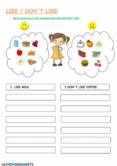 Interactive worksheet Like - don-t like