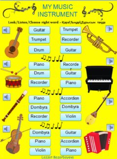Interactive worksheet My music instrument by Lazzat Bazarbayeva
