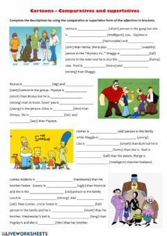 Interactive worksheet Cartoons - Comparatives and superlatives