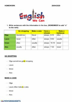 Ficha interactiva Adverbs of frecuency