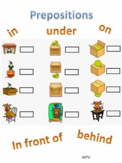 Interactive worksheet Prepositions: in, on, under, behind, in front of