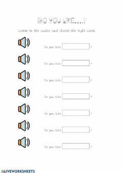 Interactive worksheet Do you like...?