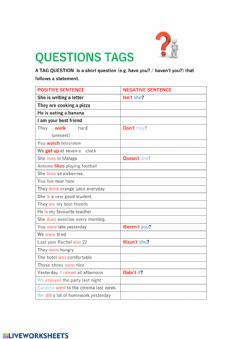 Interactive worksheet Questions tags