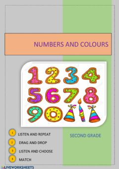 Interactive worksheet Numbers and colours
